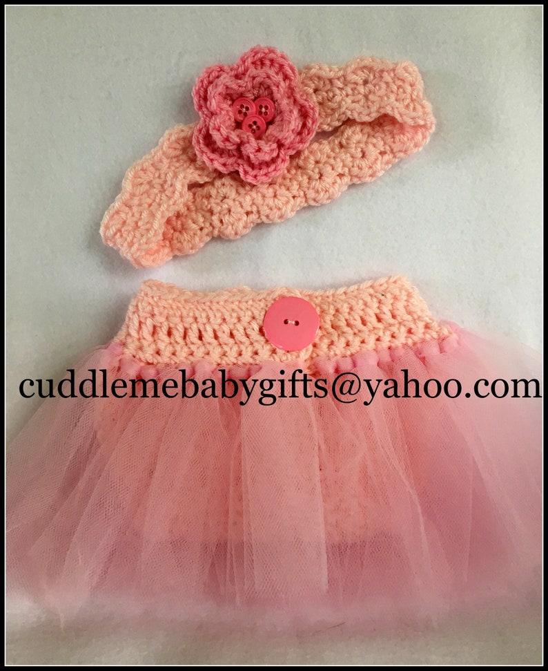 Baby Girl Crochet Headband and Diaper Cover-Ballerina Baby image 0