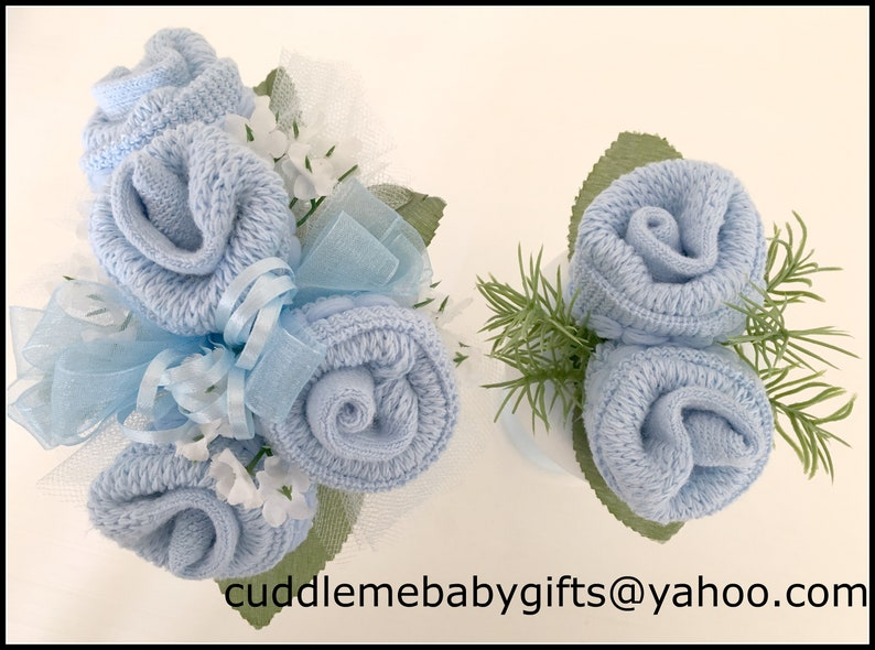 Baby Sock Corsage-Mommy to be Baby Shower Corsage-Grandma to baby blue/blue