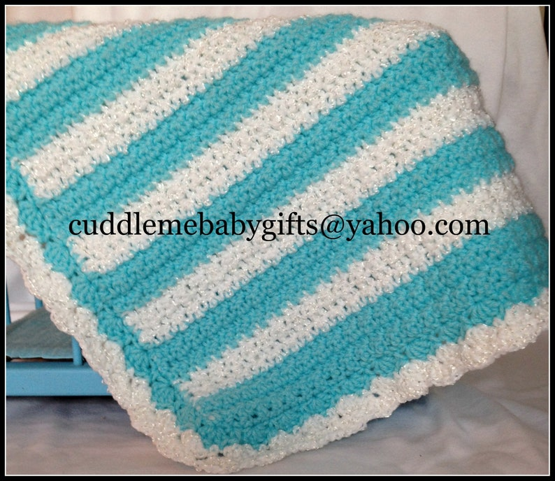 Crochet Baby Blanket-Baby Blanket Crochet-Neutral Gender Baby turquoise/white