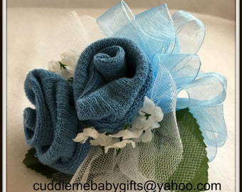 Baby Shower Baby Boy Wrist or Pin-on Baby Sock Corsage