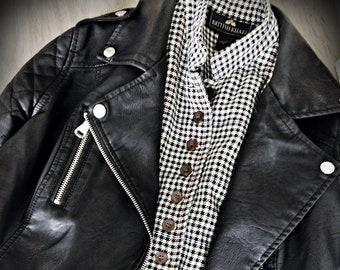 HOUNDSTOOTH Vest by British Khaki, 90s Grunge Plaid Vest Tank Top, 100% Cotton Black & White Checkered Button Up Collared Vest, WM Size 6