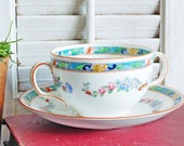 Royal Doulton Double Handle Bouillon Cup and Saucer, Made in England