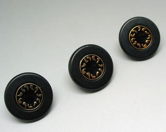 Set of 3 buttons 18mm black matte enameled Center black and gold - ref 7 plastic