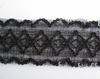 Ribbon trim tulle black Arabesque border with sequins shiny ref A4