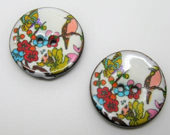 Set of 2 large buttons 3.4 cm lacquered coconut floral and bird - ref 7 c