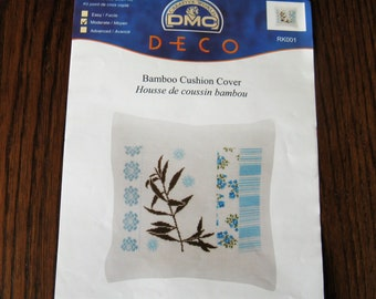 Kit embroidery cross stitch counted DMC bamboo pillow cover / Counted cross stitch kit Bamboo cushion cover