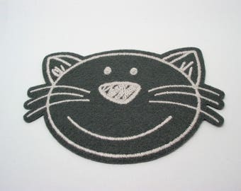 Great application thermocollante patch fabric pattern grey felt cat - 6th ref