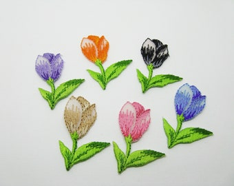 Set of 6 applications thermocollante embroidered flowers - ref 7