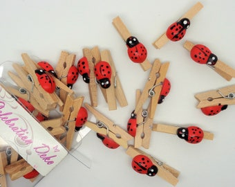 24 small cloths pattern wooden clips childish Ladybug - ref 16 has