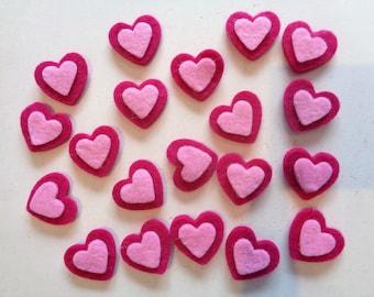 Set of 20 hearts light pink and Fuchsia felt glue or sew - ref 16