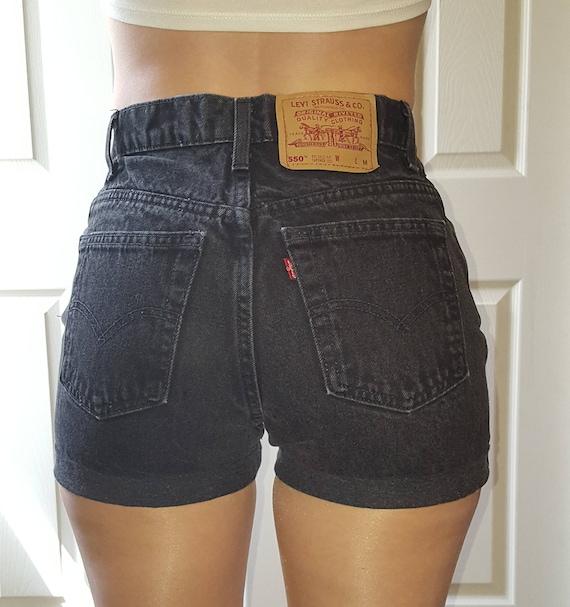 Levis High Waist Vintage Jean Denim Cuffed Shorts Etsy