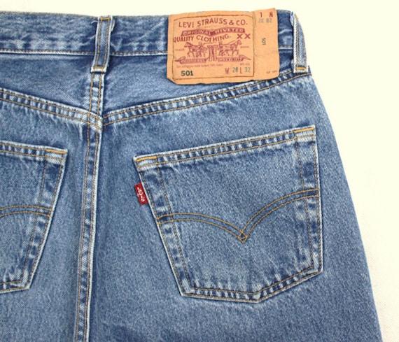 Levis 501 Vintage High Waist Denim Jeans Medium Blue Wash Etsy