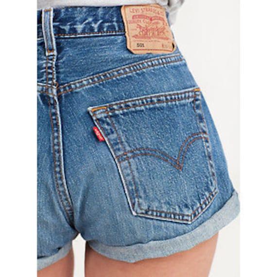 levis high waist vintage jean denim cuffed shorts. Black Bedroom Furniture Sets. Home Design Ideas