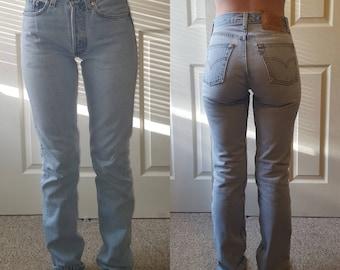 Levi s 501 Vintage High Waist Denim Jeans Light Blue Wash Authentic Gift Womens  Slim Fit Straight Leg 24 25 26 27 28 29 30 31 32 33 34 Mom fffc05de94