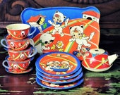 Vintage 15 pc Ohio Art Childs Tin Toy Tea Dish Set 107 Girls As Kittens Lithograph Litho Display Collectible Shabby Chic Kitsch Decor C402