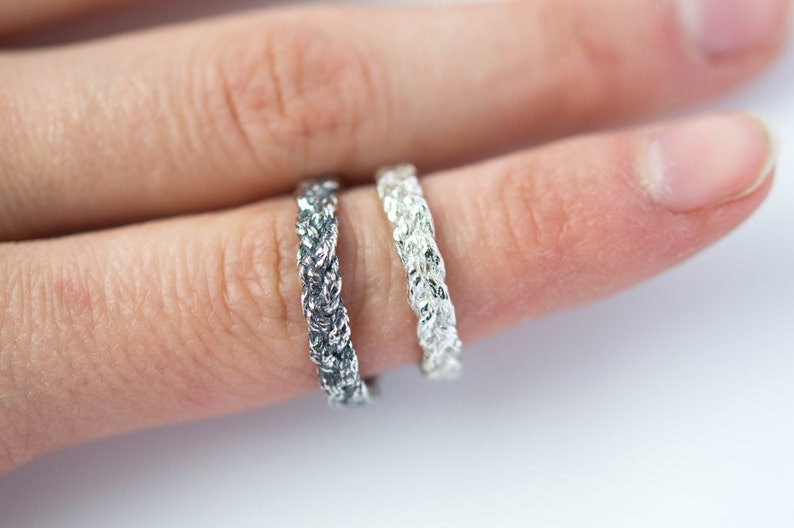 Braided sterling silver ring image 0