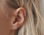 Hammered Ear crawler Sterling Silver, Ear Climber, Hammered Earrings,  Ear Crawler, Unusual Jewellery, Eco friendly Jewellery