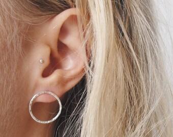 Circle Earrings | Sterling Silver Earrings | Geometric Jewellery | Minimalist Jewellery | Statement Earrings | Hammered Earrings