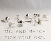 Mix and Match Sterling Silver Stud Earrings | Small Earring Set of 3 | Mix and Match Earring Set | Mismatched Earrings | Silver Stud Earring