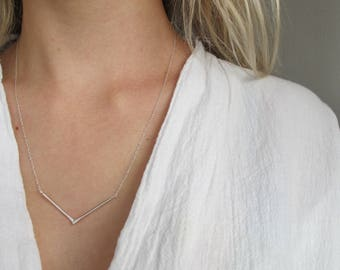 Geometric Necklace, Unusual Necklace, Silver Necklace, Minimalist Triangle Necklace, Minimal Necklace, Sterling silver necklace, Gift
