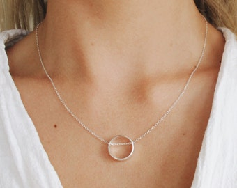 Sterling Silver Circle Necklace - Minimal Silver Necklace - Sterling Silver Simple Necklace - Open Circle Necklace - Unusual Necklace