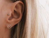 9ct Gold Hammered Small Circle Earrings | Delicate 9ct Gold Stud Earrings | Minimal Gold Circle Earrings | Solid Gold Earrings |