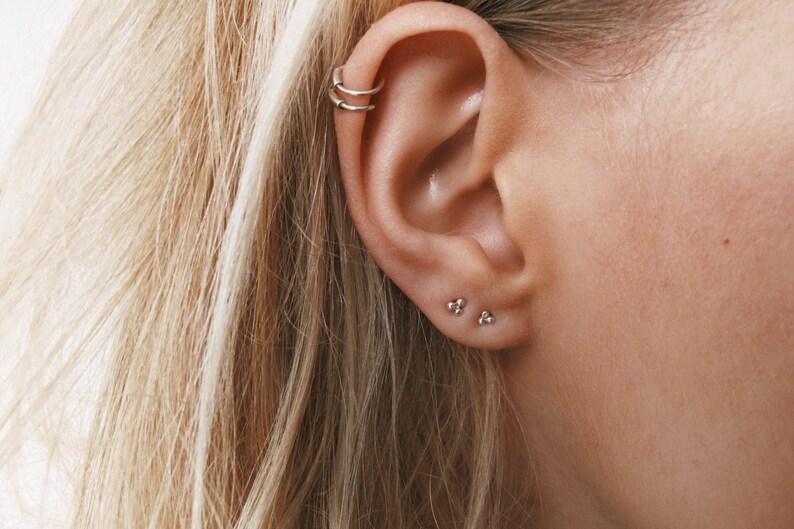 0827f7cfb5f46 Ball Studs | Delicate Small Sterling Silver Ball Stud Earrings | Helix  Piercing | Unusual Stud Earrings | Cartilage piercing