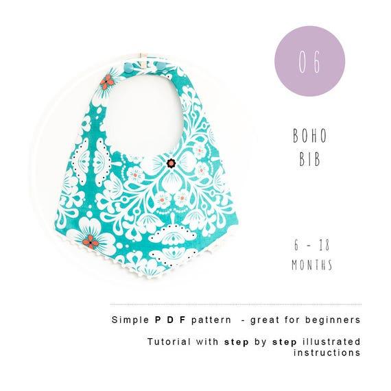 Boho Bib PDF sewing pattern. Bohemian Baby scarf bib tutorial | Etsy