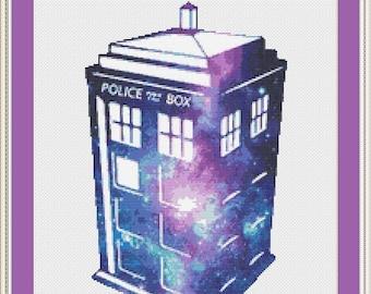 Doctor Who Cross Stitch Pattern, Tardis Cross Stitch, Galaxy Cross Stitch, Modern Cross Stitch, Counted Cross Stitch, Kreuzstich, PDF, DMC