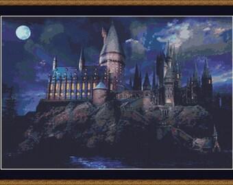 Hogwarts Cross Stitch Pattern, Movie Cross Stitch, Castle Cross Stitch, Photo Cross Stitch, Witch Cross Stitch, Counted Cross Stitch, PDF