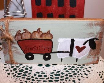 Hand Painted Wood Block Sheep Pumpkin Simplify Wagon Folk Art Autumn Leaves Country Rustic Primitive Farmhouse Home Decor