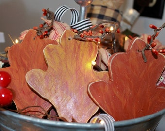 Handmade SET (3) Rustic Autumn Leaves Wood Ornies Country Farmhouse Primitive Grapevine Tiered Display Home Decor