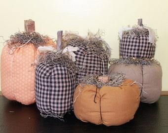 Country Rustic Farmhouse Primitive Fabric Fall Pumpkins Handmade Choice of Sizes