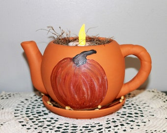 Hand Painted Ceramic Teapot Kettle FolkArt Pumpkin Primitive Country Rustic Home Decor Flameless Tealight