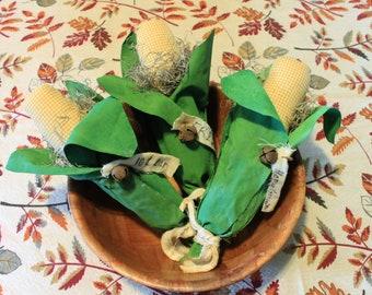 Handmade *SET* Primitive Rustic Country Farmhouse Fabric Corn Husks Home Decor Tiered Display Bowl Fillers Corner Tucks