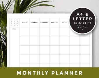 A4 & Letter size / Monthly Planner, Printable planner, Blog Organizer, Blogging Planner, Goal Calendar