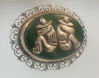 Taxco Mexico Sterling Silver Jade Siesta Vintage Pin Brooch