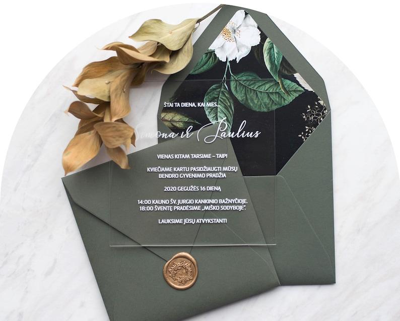 Transparent wedding invitation with stamp / floral design for image 0