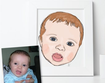 Baby Portrait, Custom Printable Illustration, Digital File: PDF JPG - You Print - Child, Nursery Art