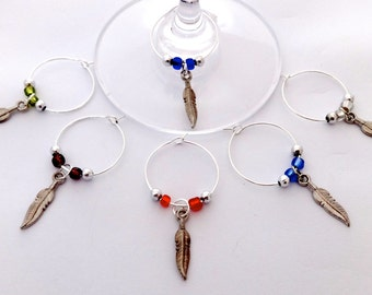 Feather Wine Charms