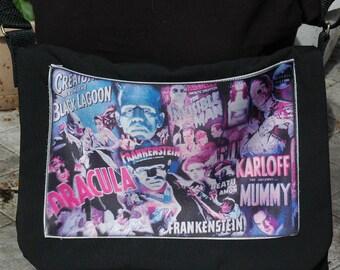 Classic Movie Monsters Printed Messenger Bag -cross body bag-horror movies