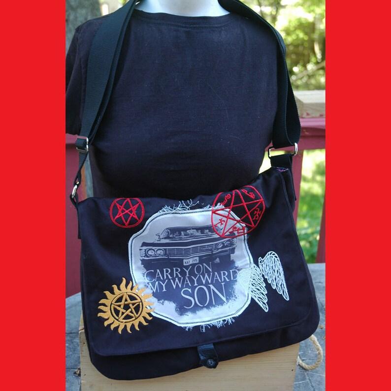 Supernatural Messenger Bag Printed and Embroidered Cross Shoulder Purse Sam and Dean