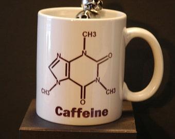 Caffeine Molecule Printed Ceramic Coffee Mug 11 or 15oz