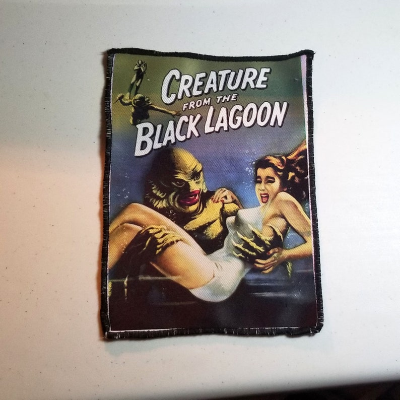 5 X 7 inch Creature From the Black Lagoon Printed Fabric Patch