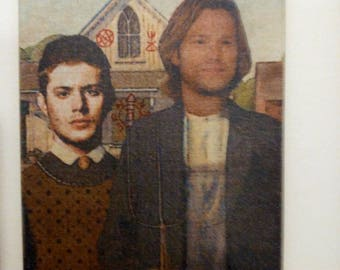 Winchester Gothic Art ~ Sam and Dean, Supernatural Printed Canvas 8 x 10
