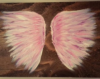Earth Angel my Guardian Dear, hand painted Angel wings, pink, purple and white