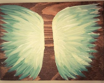 Earth Angel my Guardian Dear, hand painted Angel wings, blue and yellow