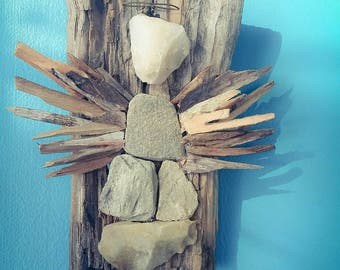 Driftwood and stone Angel Driftwood Art, Driftwood Sculpture, Wall Art, Reclaimed Driftwood, angel