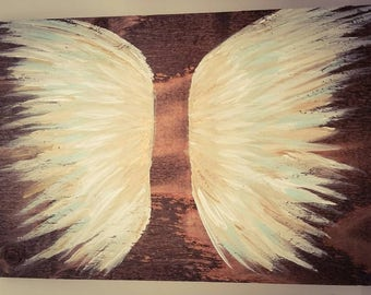Earth Angel my Guardian Dear, hand painted Angel wings, white,  gold and blue