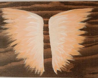 Earth Angel my Guardian Dear, hand painted Angel wings, peach and white
